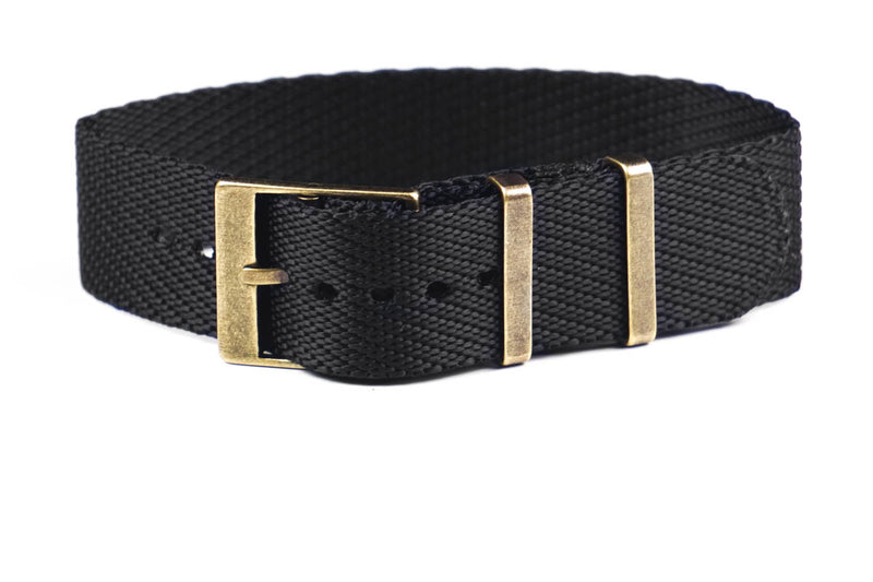 Adjustable Bronze Single Pass Strap Black