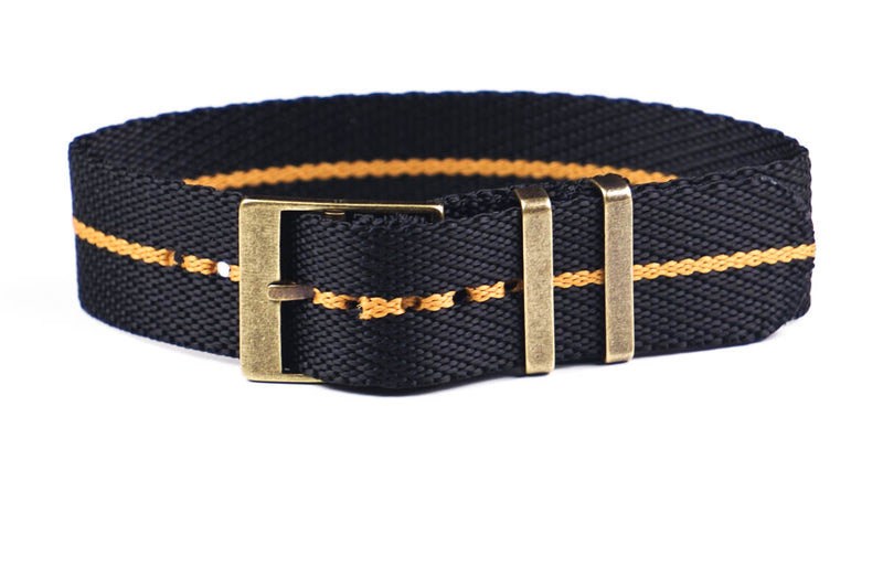Adjustable Bronze Single Pass Strap Black and Gold