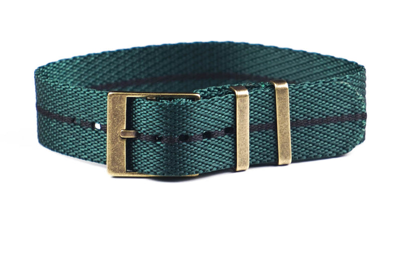 Adjustable Bronze Single Pass Strap British Racing Green and Black