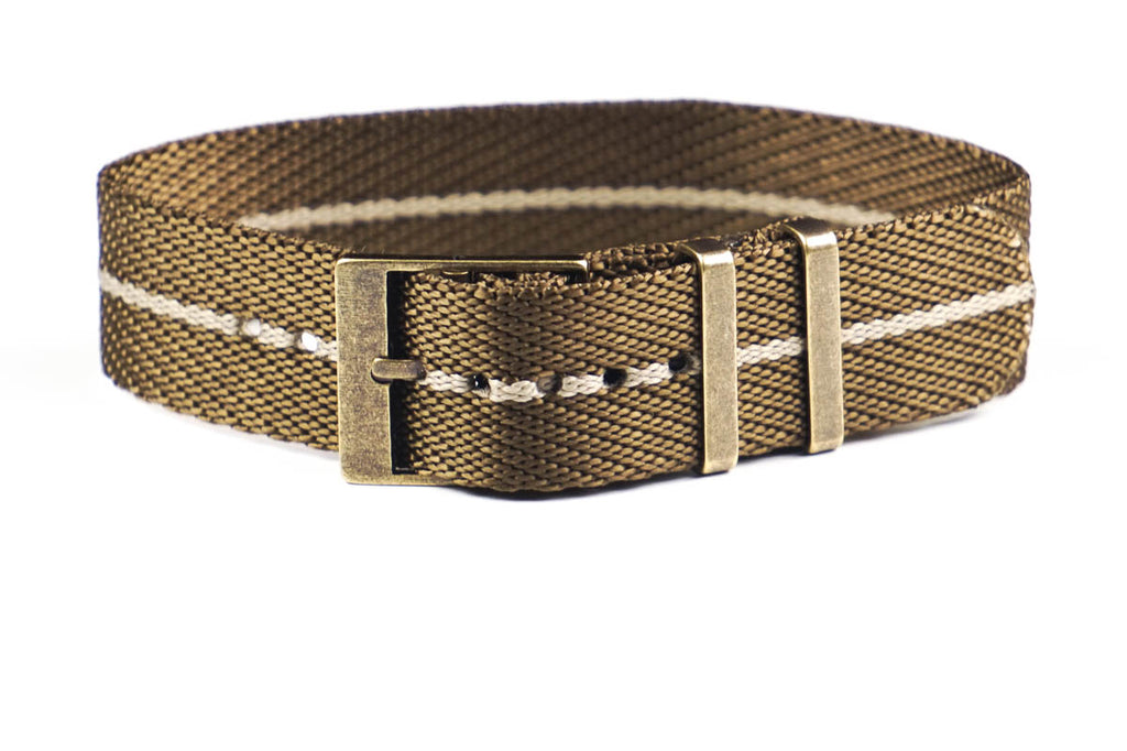 Adjustable Bronze Single Pass Strap Khaki and Barley
