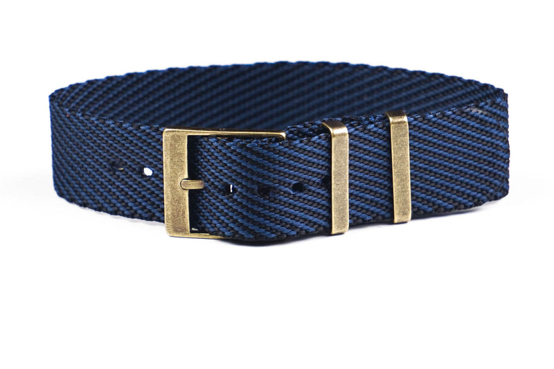 Adjustable Bronze Single Pass Strap Navy