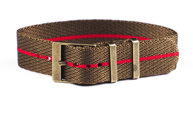 Adjustable Bronze Single Pass Strap Khaki and Red