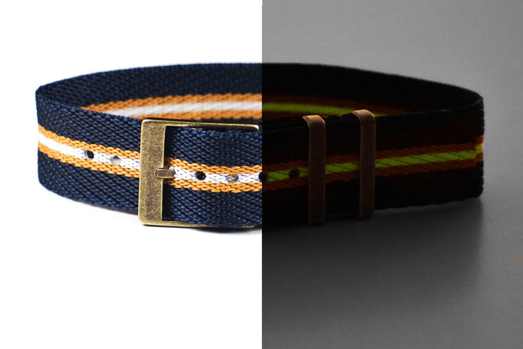Adjustable Bronze Single Pass Strap Navy, gold and lume