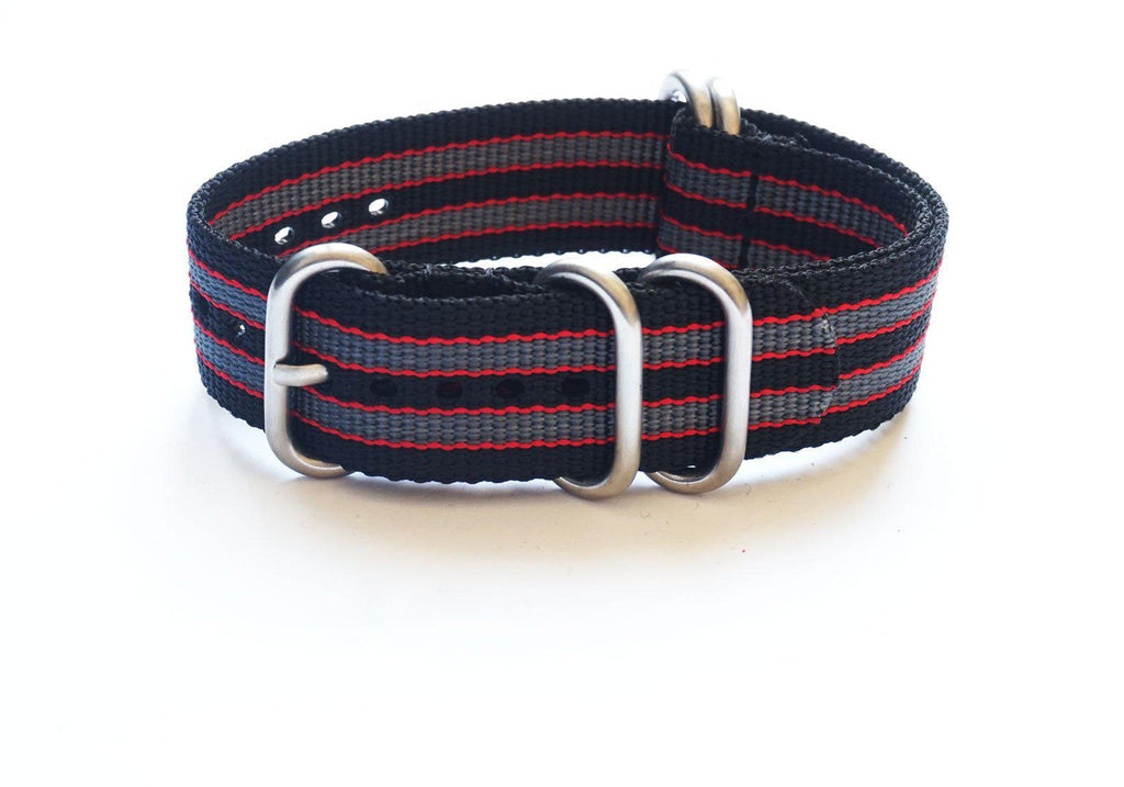 "Zulu strap SS 5-ring Black, Red and Gray ""James Bond"" - Cheapest NATO Straps  - 1"