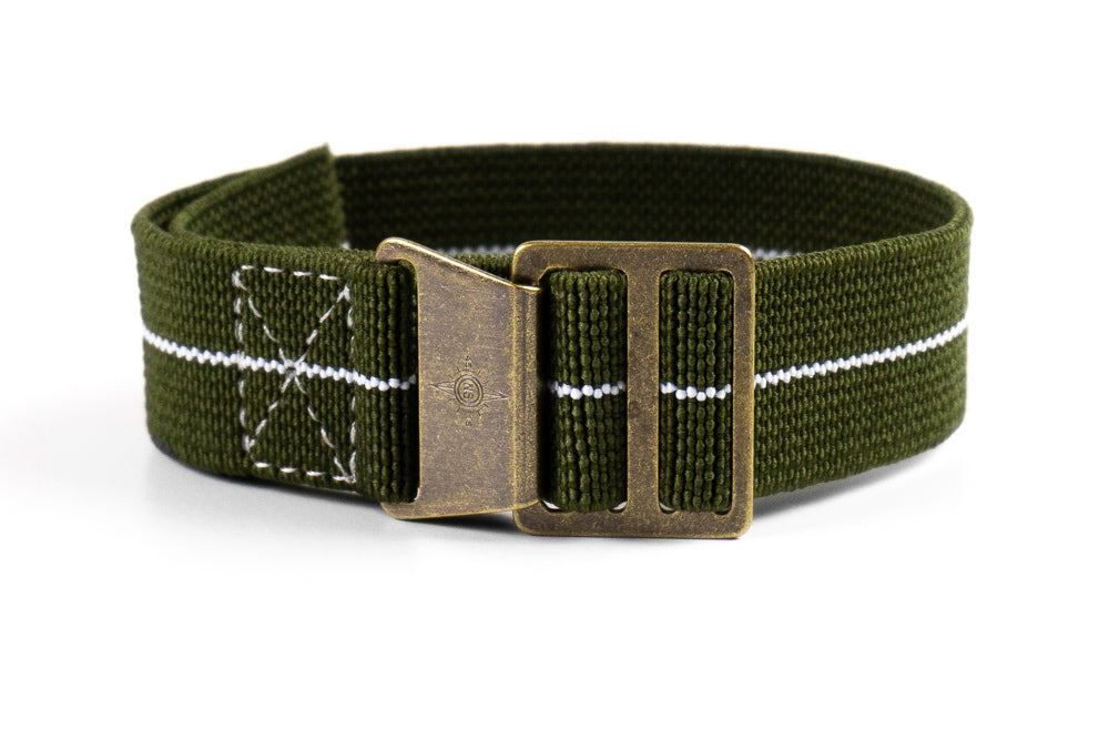 Paratrooper Bronze Strap Khaki Green and White