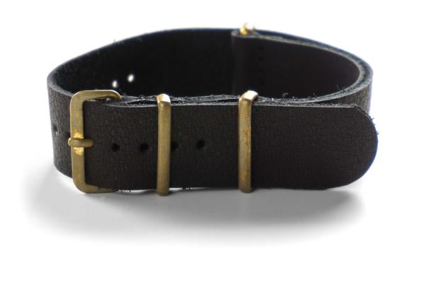 Bronze Leather NATO Strap Black (18 & 22 mm)
