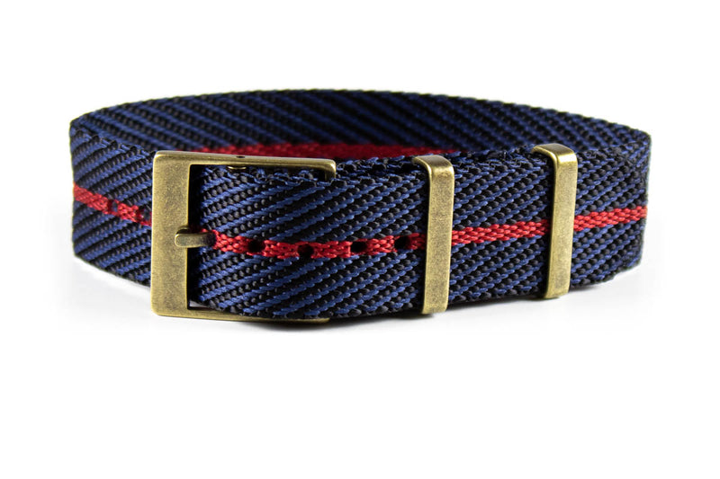Adjustable Bronze Single Pass Strap Midnight and Red