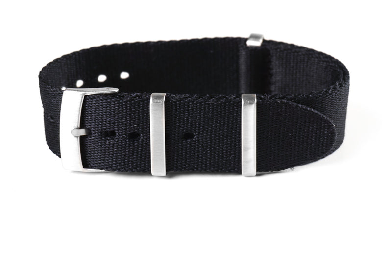Deluxe Brushed Seat Belt NATO Black (18 & 20 mm)