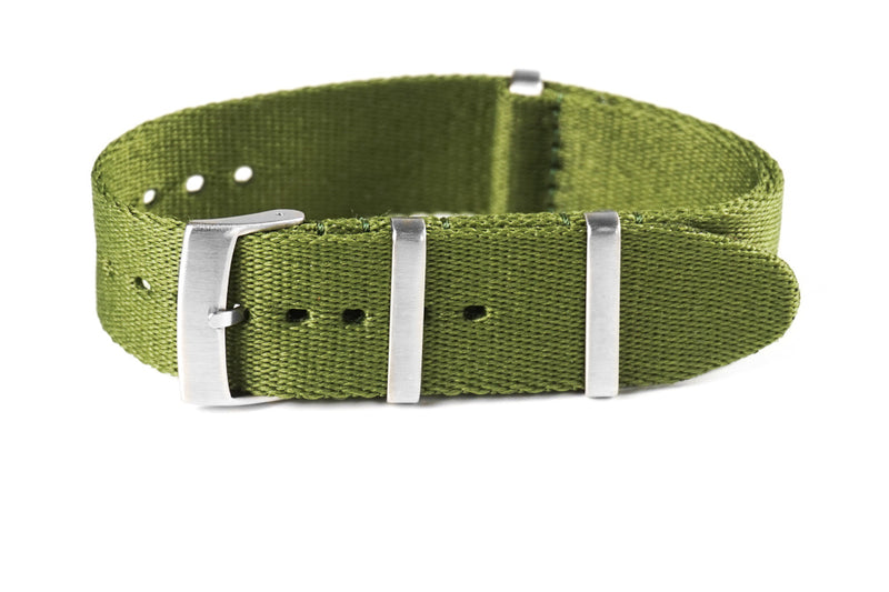 Deluxe Brushed Seat Belt NATO Khaki Green (20 & 22 mm)