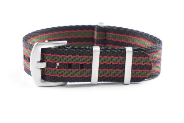 Budget Seat Belt NATO strap Black, Red and Green (18, 20 & 22 mm)