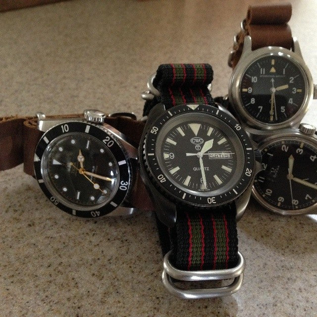 "Extra Long Zulu strap SS 5-ring Black, Red and Green ""James Bond"" - Cheapest NATO Straps  - 4"