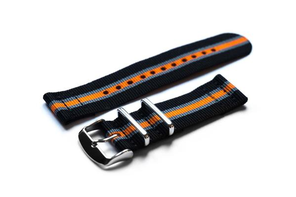 Two Piece NATO Strap Black, Gray and Orange (18 & 20 mm)