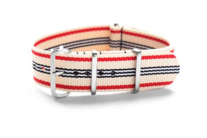 Brushed Premium NATO strap Off white, Red, black and White