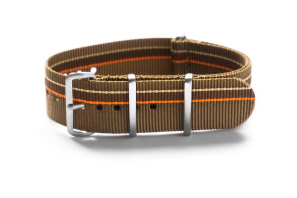 Brushed Premium NATO strap Khaki, Orange, Brown and Beige