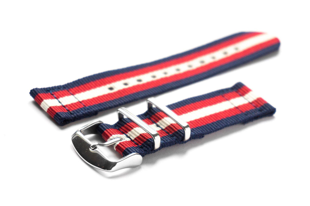 Two Piece NATO Strap Navy, Red and Beige - Cheapest NATO Straps  - 1