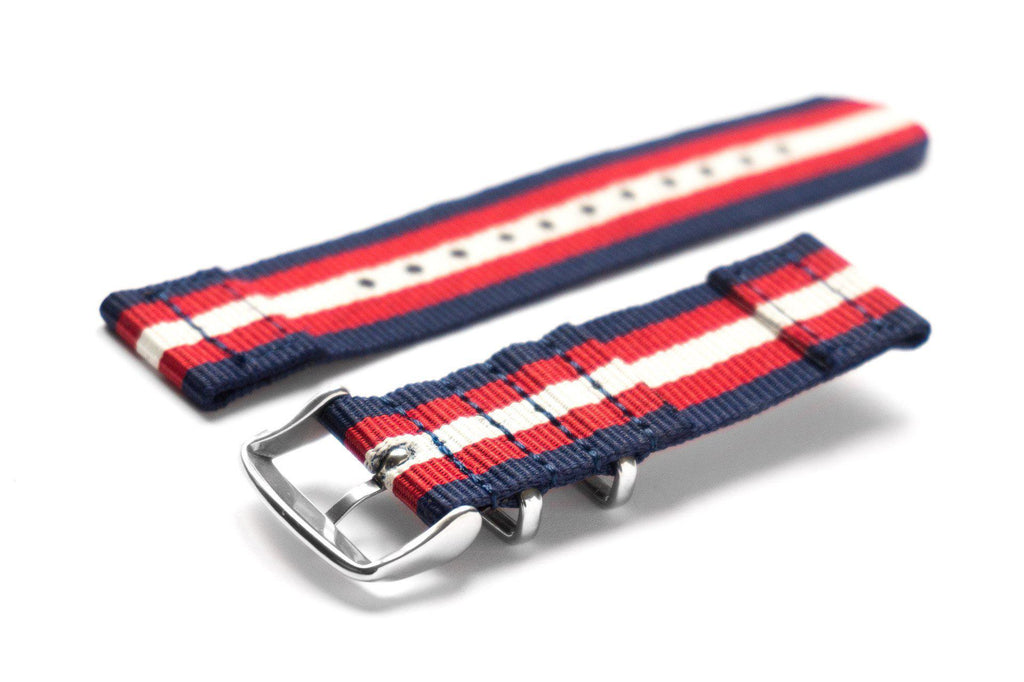 Two Piece NATO Strap Navy, Red and Beige - Cheapest NATO Straps  - 2