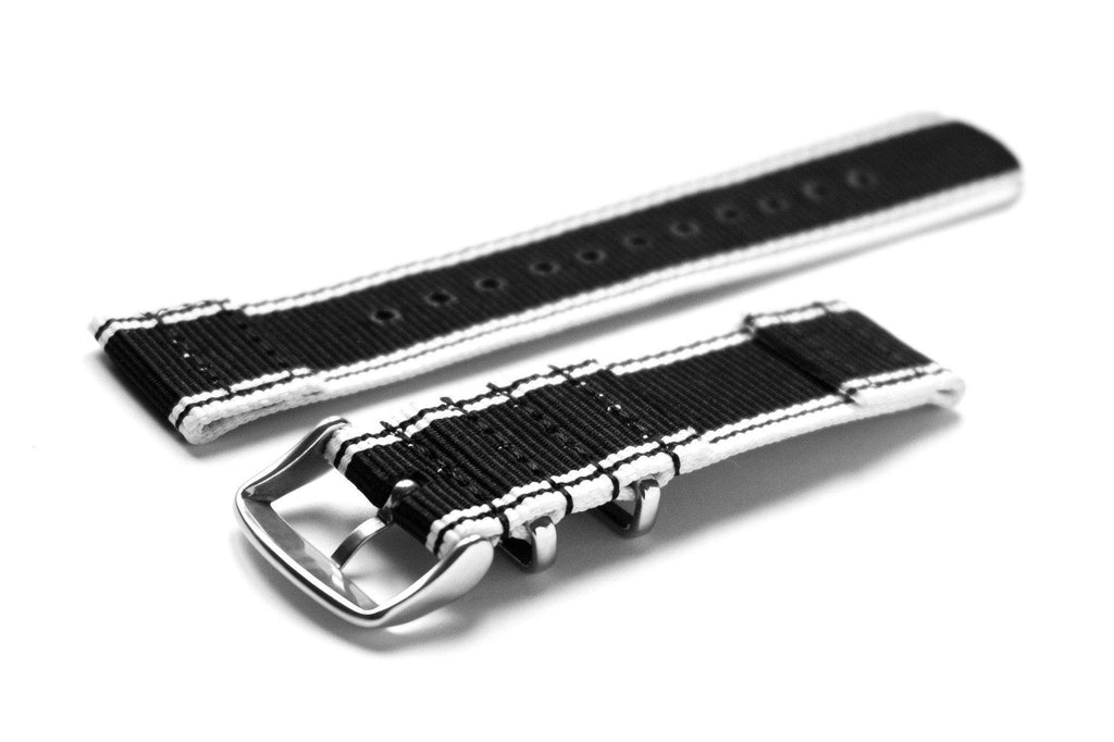 Two Piece NATO Strap Selvage, Black and White - Cheapest NATO Straps  - 2