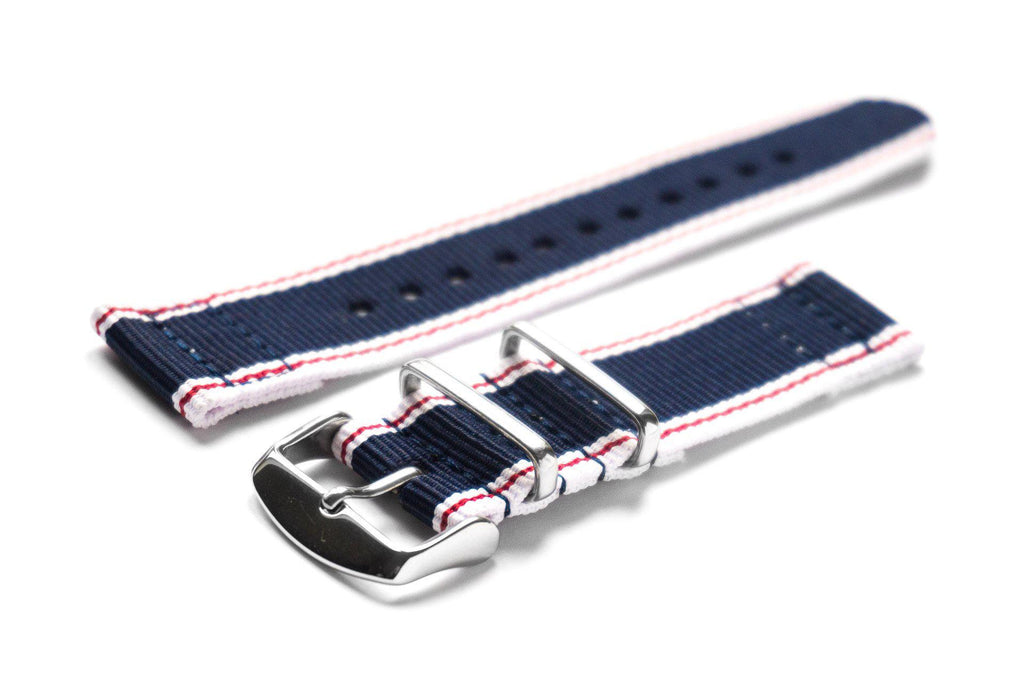 Two Piece NATO Strap Selvage, White, Red and Blue - Cheapest NATO Straps