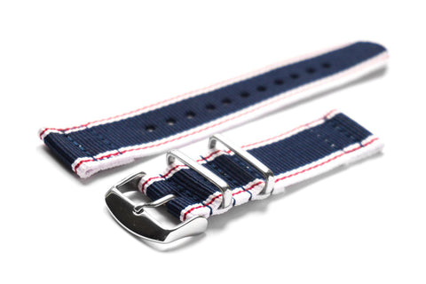 Two Piece NATO Strap Navy and Gray (20 & 22 mm)