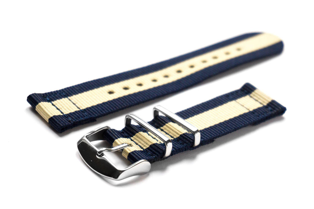 Two Piece NATO Strap Navy and Beige - Cheapest NATO Straps  - 1