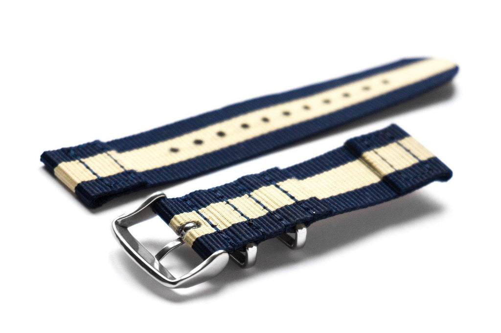 Two Piece NATO Strap Navy and Beige - Cheapest NATO Straps  - 2