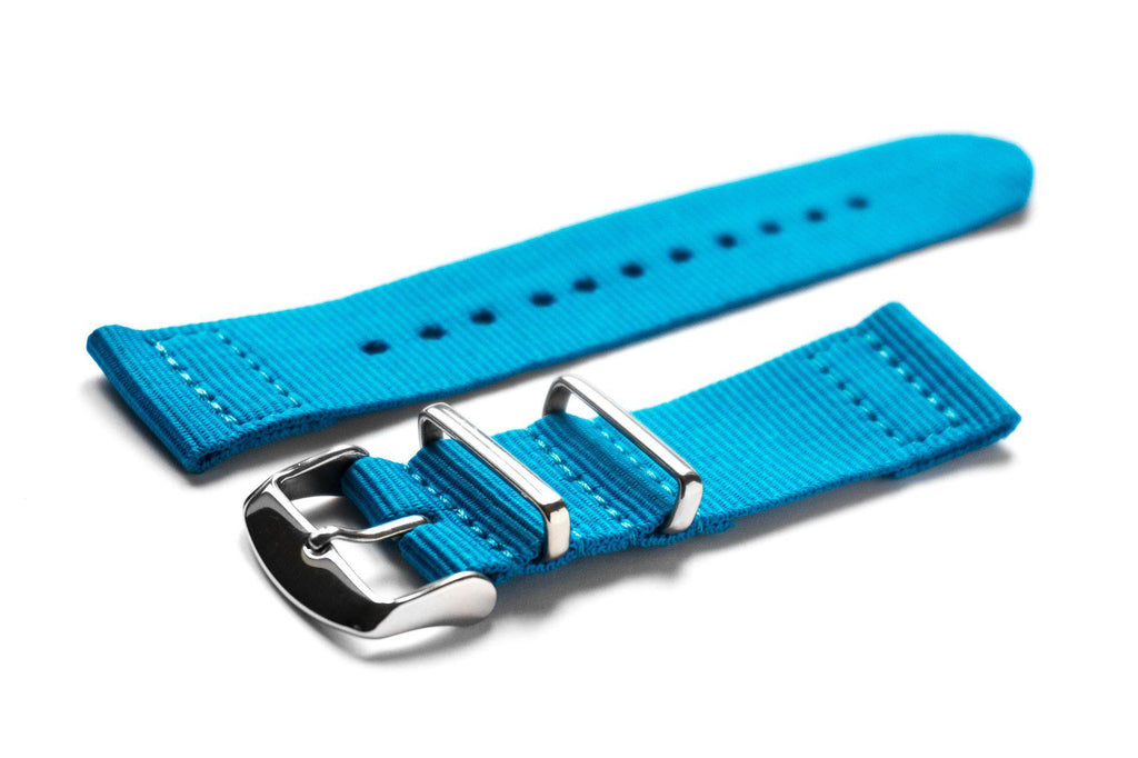 Two Piece NATO Strap Azur Blue - Cheapest NATO Straps  - 1