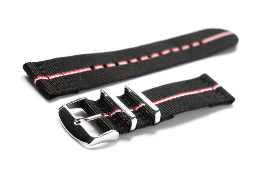 Two Piece NATO Strap Black with thin Red and White stripe - Cheapest NATO Straps
