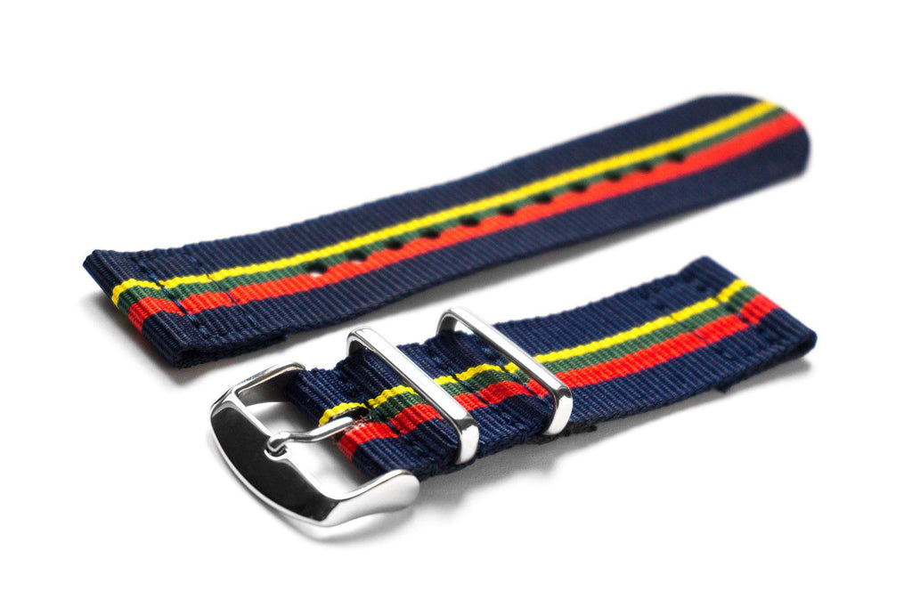Two Piece NATO Strap Blue, Red, Green and Yellow - Cheapest NATO Straps