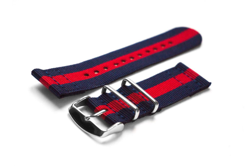 Two Piece NATO Strap Navy and Red - Cheapest NATO Straps  - 1