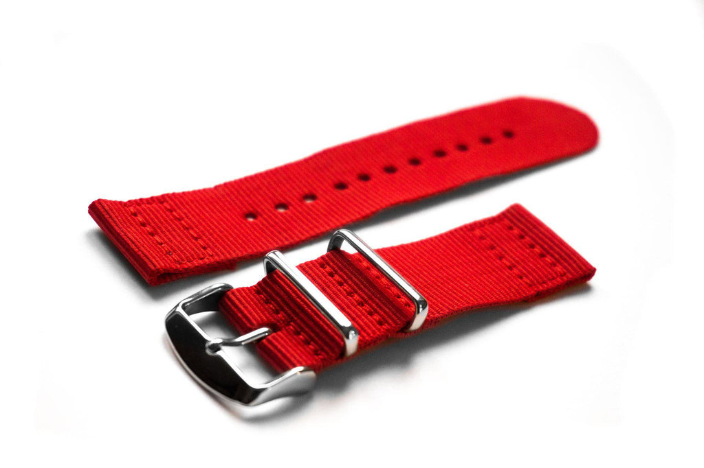 Two Piece NATO Strap Red - Cheapest NATO Straps  - 1