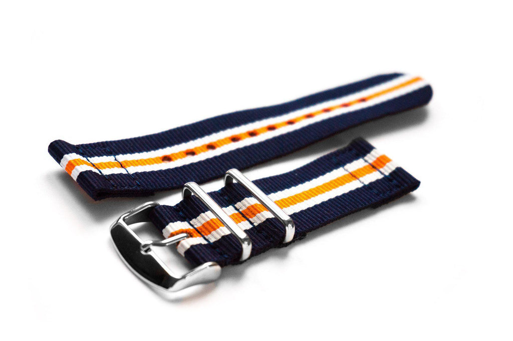 Two Piece NATO Strap Navy, White and Orange - Cheapest NATO Straps  - 1