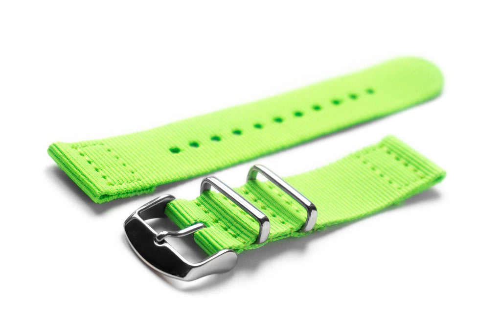 Two Piece NATO Strap Neon Green - Cheapest NATO Straps  - 1