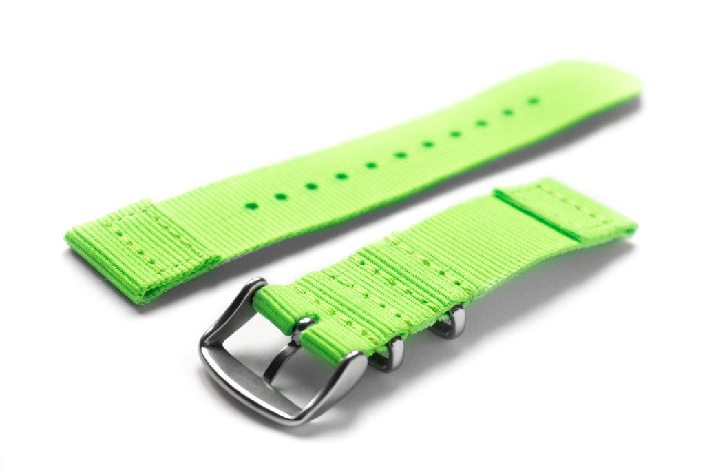 Two Piece NATO Strap Neon Green - Cheapest NATO Straps  - 2