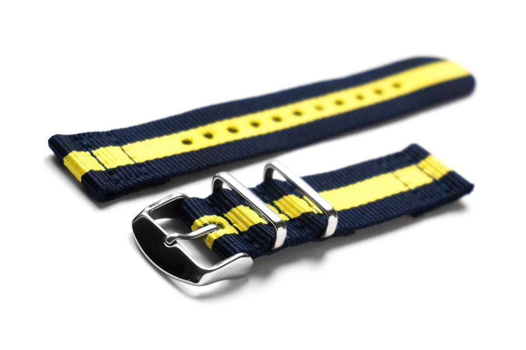 Two Piece NATO Strap Navy and Yellow - Cheapest NATO Straps  - 1