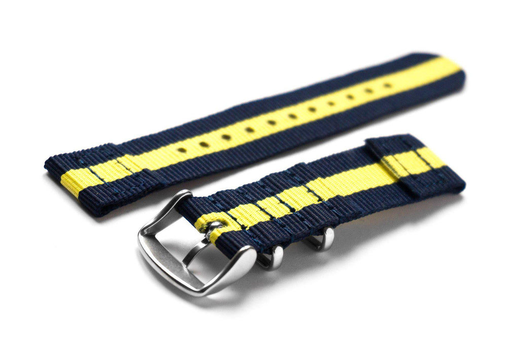 Two Piece NATO Strap Navy and Yellow - Cheapest NATO Straps  - 2