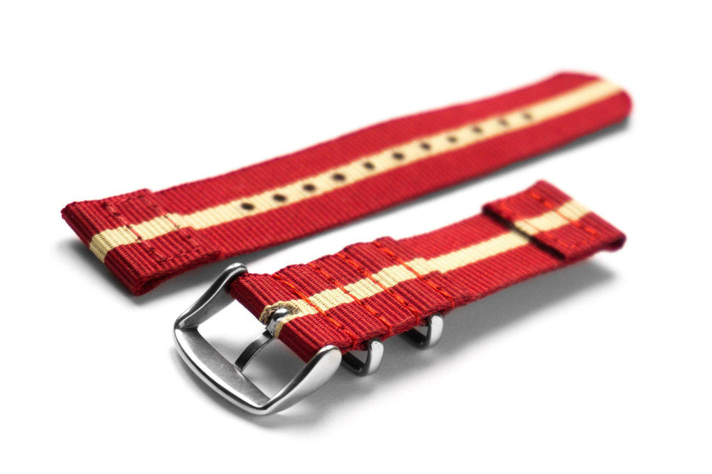 Two Piece NATO Strap Red and Beige - Cheapest NATO Straps  - 2