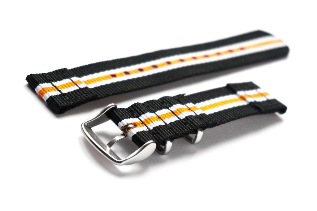 Two Piece NATO Strap Racing Black, White and Orange - Cheapest NATO Straps  - 2