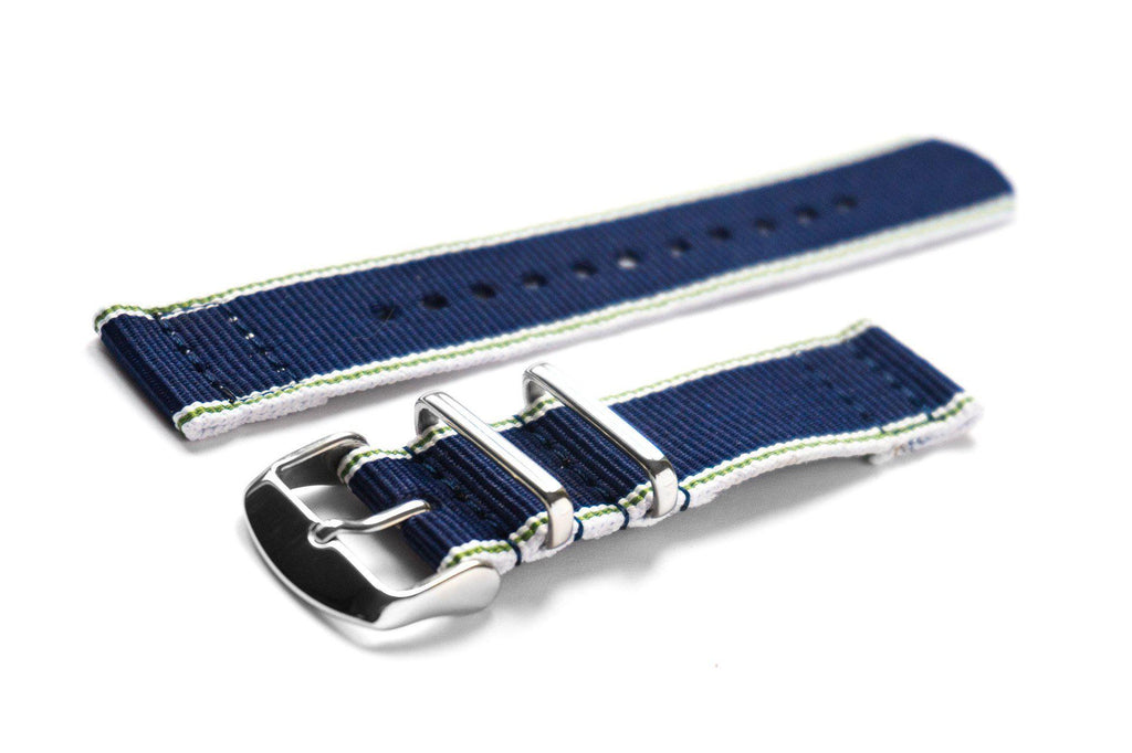 Two Piece NATO Strap Selvage, White, Green and Navy - Cheapest NATO Straps  - 1