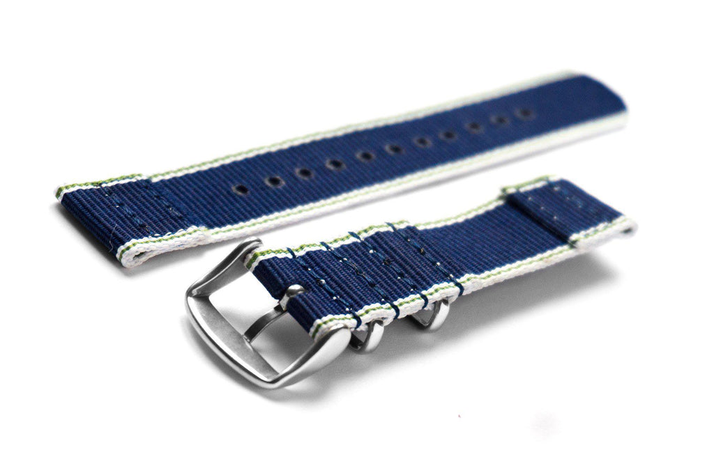Two Piece NATO Strap Selvage, White, Green and Navy - Cheapest NATO Straps  - 2