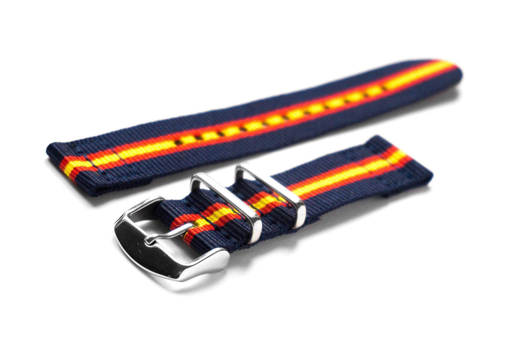Two Piece NATO Strap Blue, Red and Yellow - Cheapest NATO Straps