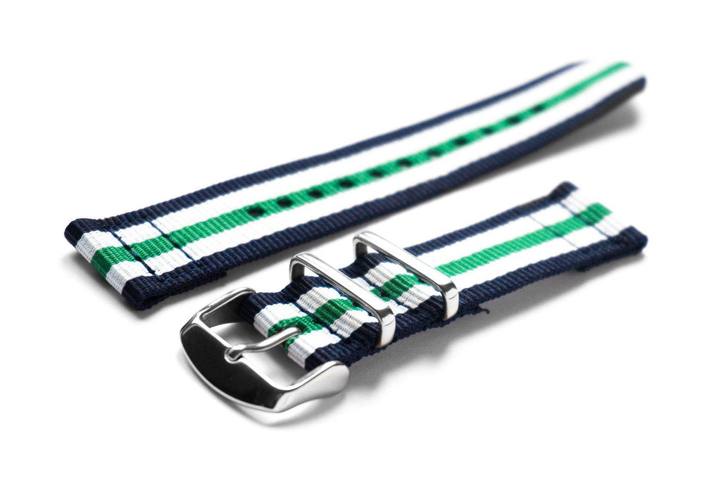Two Piece NATO Strap Navy, White and Green - Cheapest NATO Straps  - 1