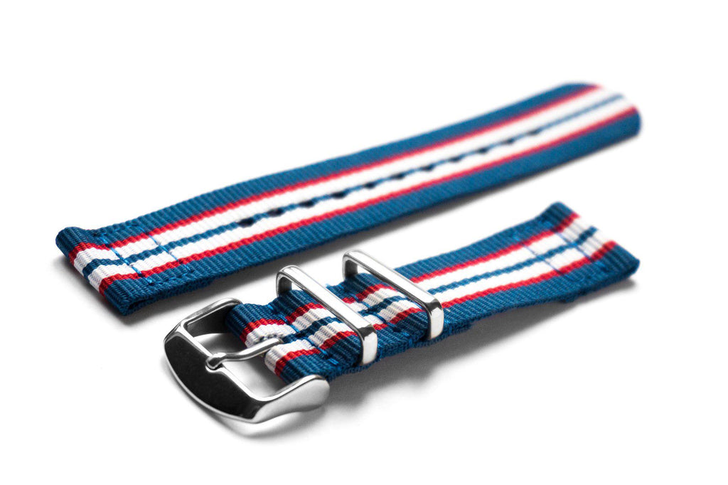 Two Piece NATO Strap Australia, Blue, Red and White - Cheapest NATO Straps