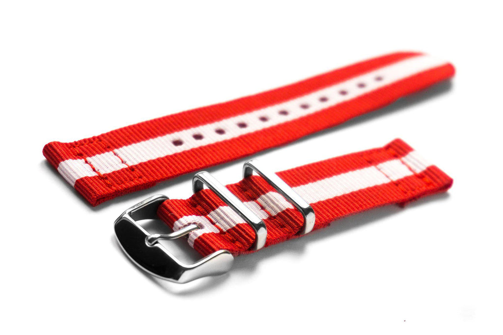Two Piece NATO Strap Canada, Red and White - Cheapest NATO Straps