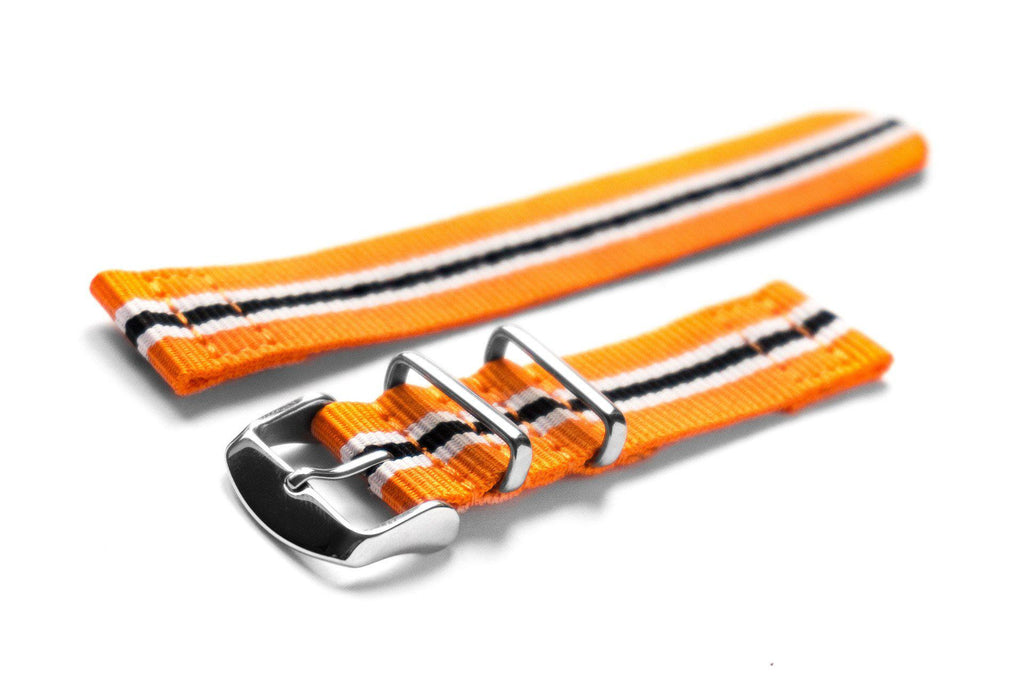 Two Piece NATO Strap Racing Orange, White and Black - Cheapest NATO Straps