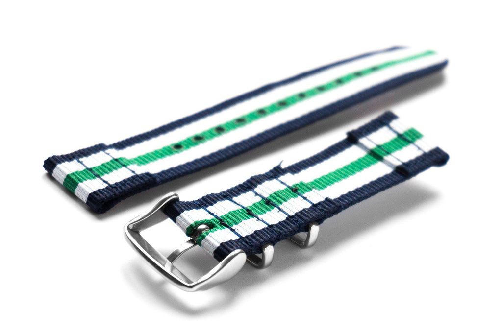 Two Piece NATO Strap Navy, White and Green - Cheapest NATO Straps  - 2