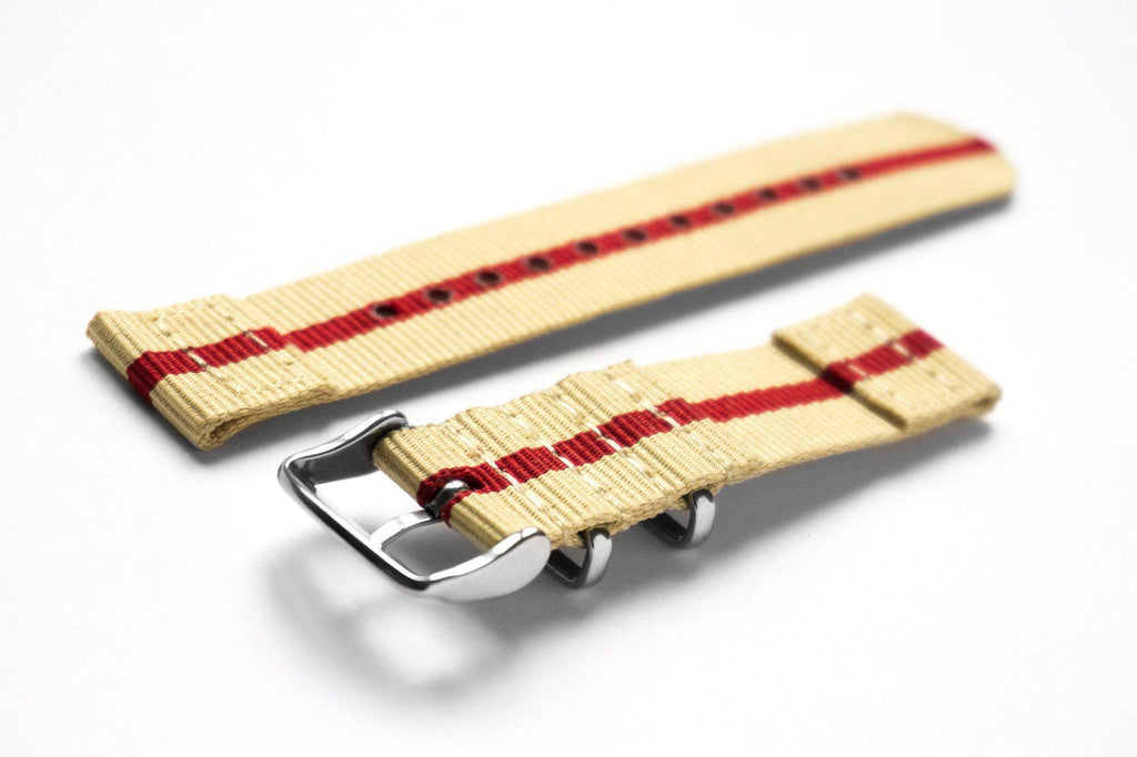 Two Piece NATO Strap Beige and Red - Cheapest NATO Straps  - 2