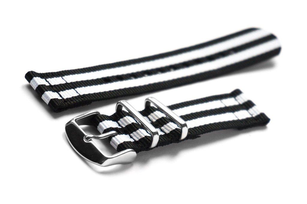 Two Piece NATO Strap Black and White - Cheapest NATO Straps
