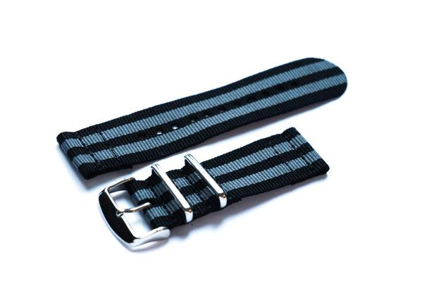"Two Piece NATO Strap Black and Gray ""James Bond"""