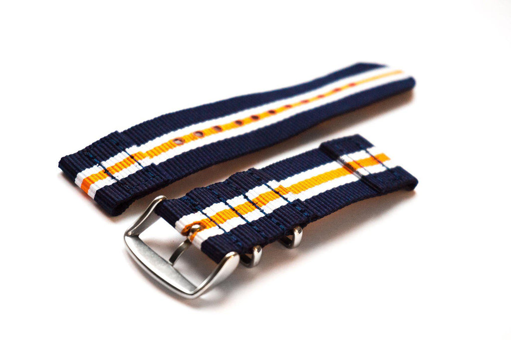 Two Piece NATO Strap Navy, White and Orange - Cheapest NATO Straps  - 2