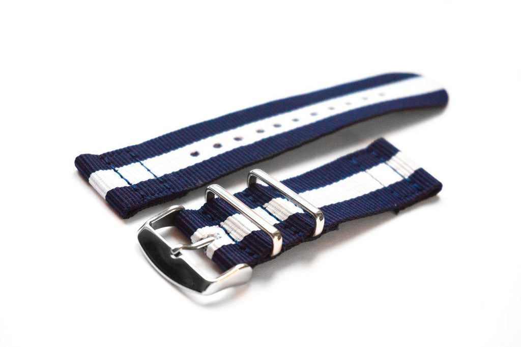 Two Piece NATO Strap Navy and White - Cheapest NATO Straps  - 1